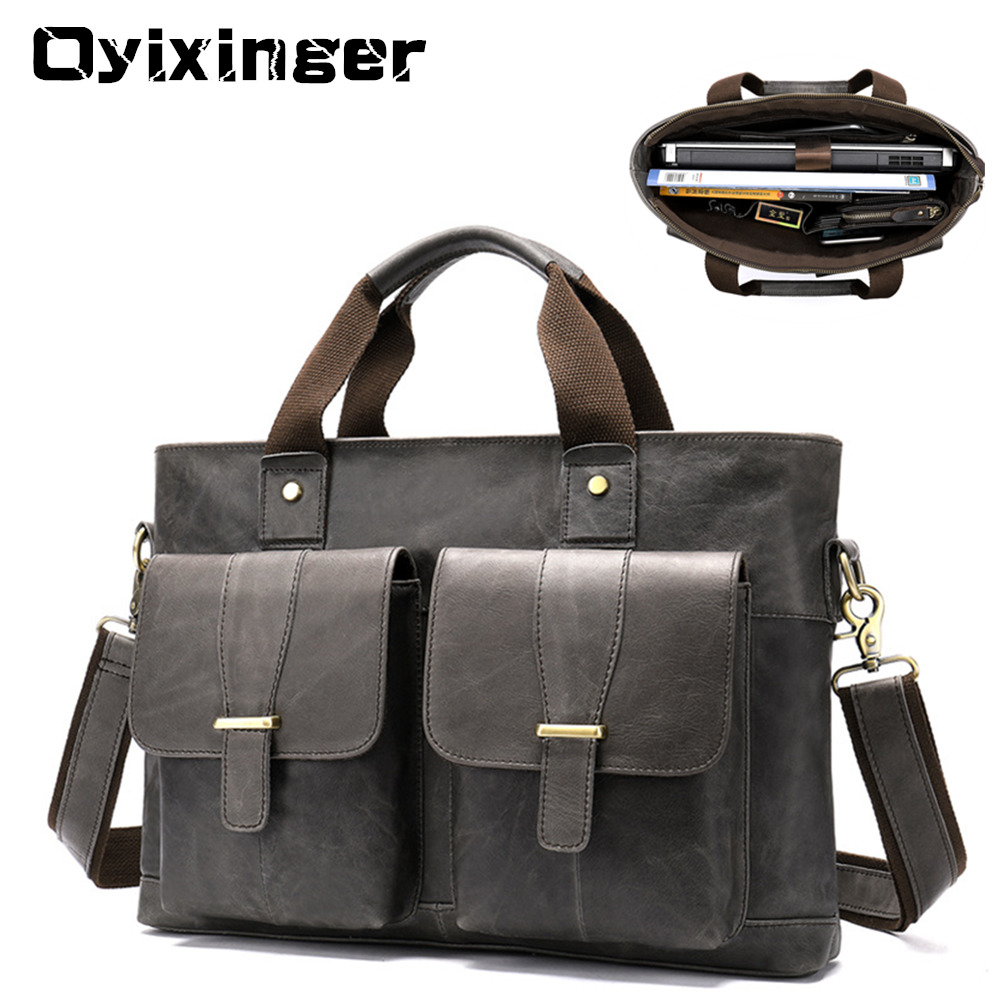 Large Genuine Leather Briefcase Men Laptop 15.6 Inch Mens Business Bag Male Laptop Bags Office Work Bag Sac Homme Luxury Handbag