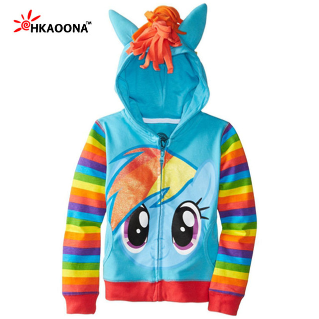 Designed Autumn Girls Little Pony Sweatshirt Cute Cartoon Animal Print Outerwear Ponytail Hood Solid/Striped Sleeve Kids Clothes