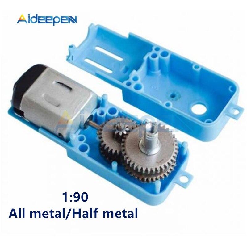 DC 3V-6V 1:90 Metal Gear Motor All Metal/Half Metal Single Axis Gear Motor Robot Intelligent Vehicle Speed Reducer TT Motor Blue