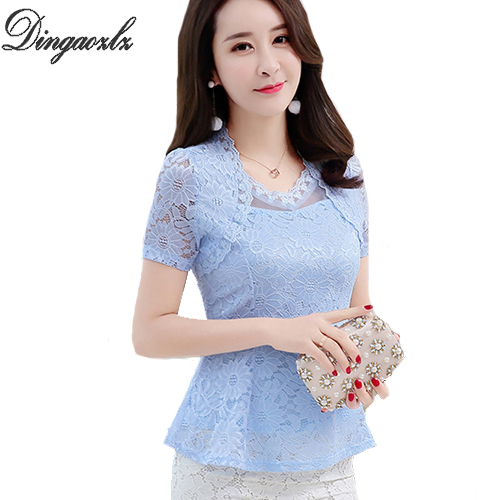 Dingaozlz New 2018 Plus size Women   blouses   Fashion Ruffles Floral lace Tops Elegant Hollow out Ladies lace   blouse     shirt