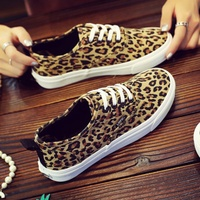 2018 spring new leopard flat canvas shoes female Korean wild shoes Harajuku shoes