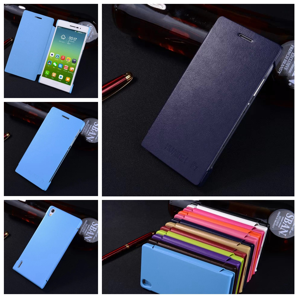 Lemonlan Hot Huawei P7 Case High Quality PU Leather Flip Phone Cases for Huawei Ascend P7 Back Cover Shell Bag 12 Colors
