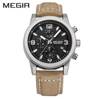 MEGIR Official Luxury Sports Men S Quartz Watches Military Wristwatch Men Genuine Leather Band Watch Chronogragph
