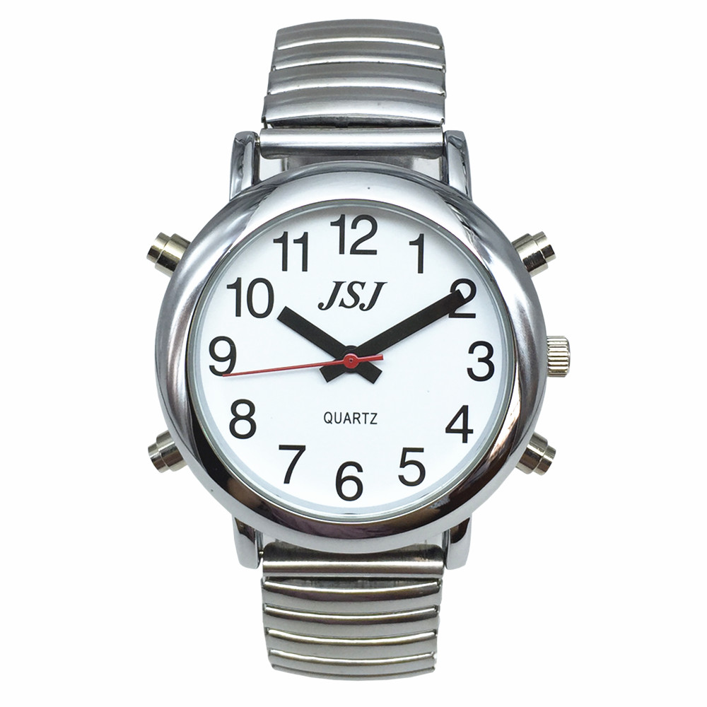 Spanish Talking Watch With Alarm, White Dial, Only One Button, Expansion Band