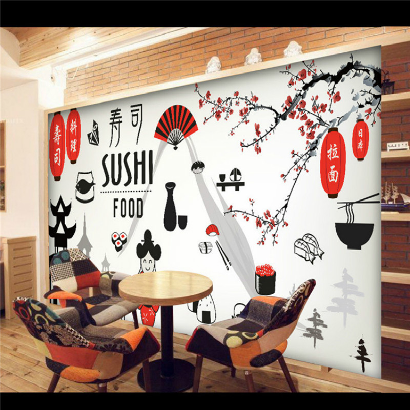 Japanese Style 3D Wallpaper Customized Wallpapers Restaurant Sushi  Restaurants Large Mural Wall Covering(China