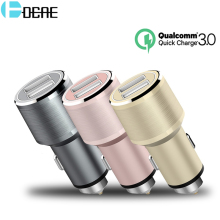 DCAE Quick Charge 3.0 Dual USB Car Charger For iPhone X 8 7 5V/2.4A LED Car-charger Adapter For Samsung S8 Car Lighter Chargers