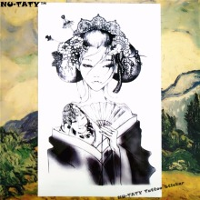Nu-TATY Strange Kabuki Temporary Tattoo Body Art Sleeve Arm Flash Tattoo Stickers 12x20cm Waterproof Tatto Henna Fake Tatoo
