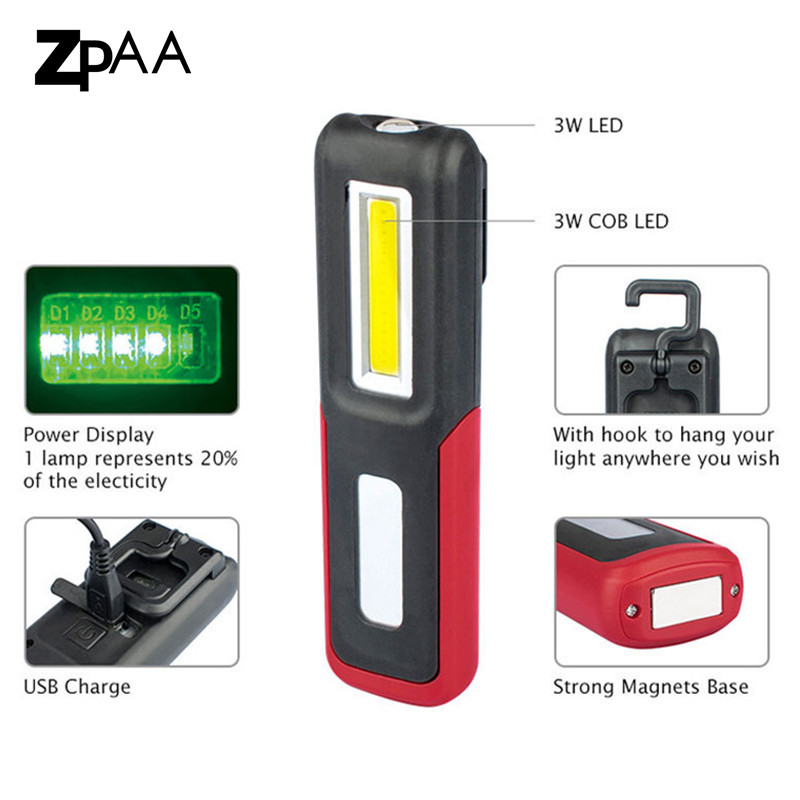 Rechargeable Magnetic COB LED Torch Inspection Lamp Work Light Camping Lamp 2019