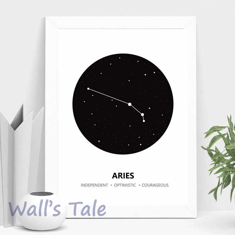 Constellation Canvas Painting Wall Art Picture , Black And White Astrology Sign Minimalist Canvas Prints Poster Home Decor