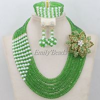 Lovely African Beads Jewelry Set Green Crystal Beads Necklace Nigerian Wedding Party Jewelry Set 2015 New Free Shipping AIJ002
