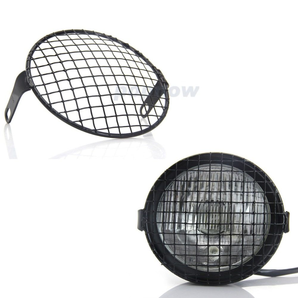 6.5/16cm Black Motorcycle Headlight Mesh Grille Mask Cover Mount Square Grid Grill Side Headlamp Lid Cover For Harley #6946 sparta 300 warrior paragraph wire mesh tactical mask wire mesh mask