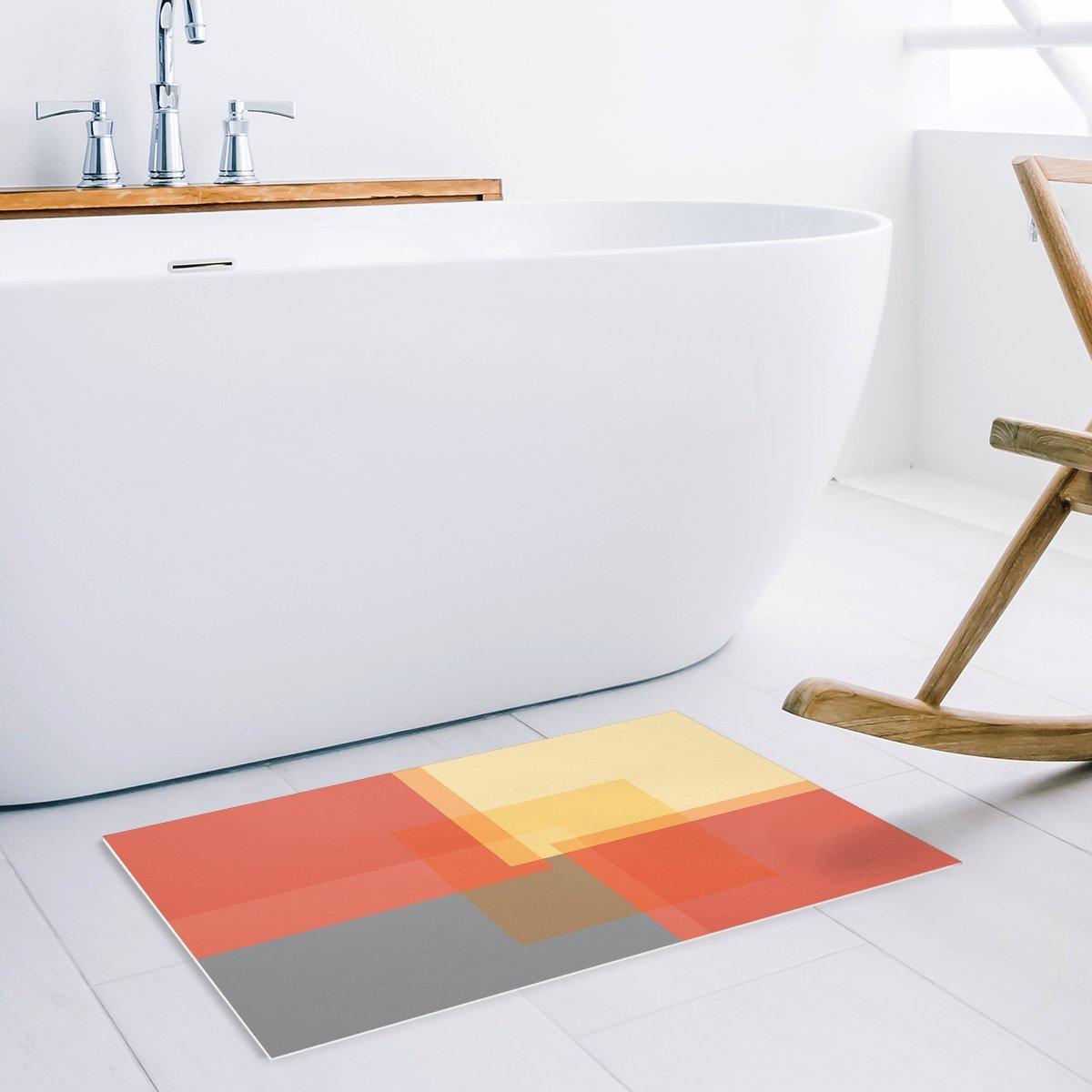 Us 14 98 25 Off Modern Color Block Square Geometric Orange Yellow And Grey Door Mats Kitchen Floor Bath Entrance Rug Mat Indoor Doormats In Mat From