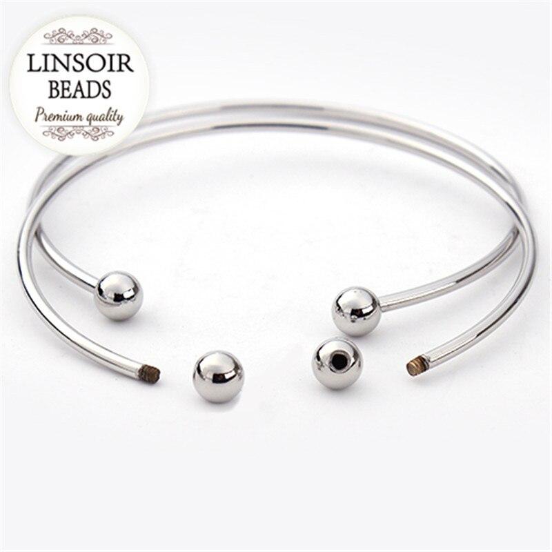 5 unids / lote plata europea plateada ajustable brazalete abierto - Bisutería - foto 3