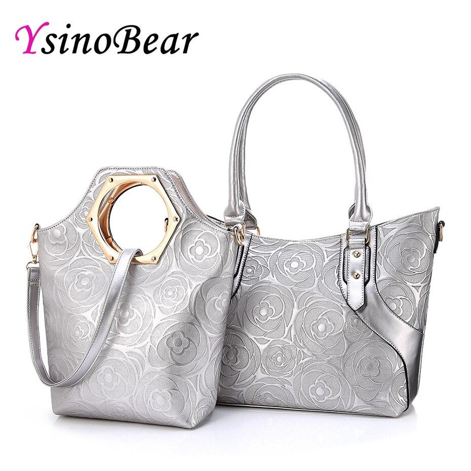 Conjunto 2 YsinoBear Famosa Marca Fashion Designer Handbag Mulheres Saco Composto de Prata Subiu Bolsa de Ombro Em Relevo Bolsa saco Alça Superior