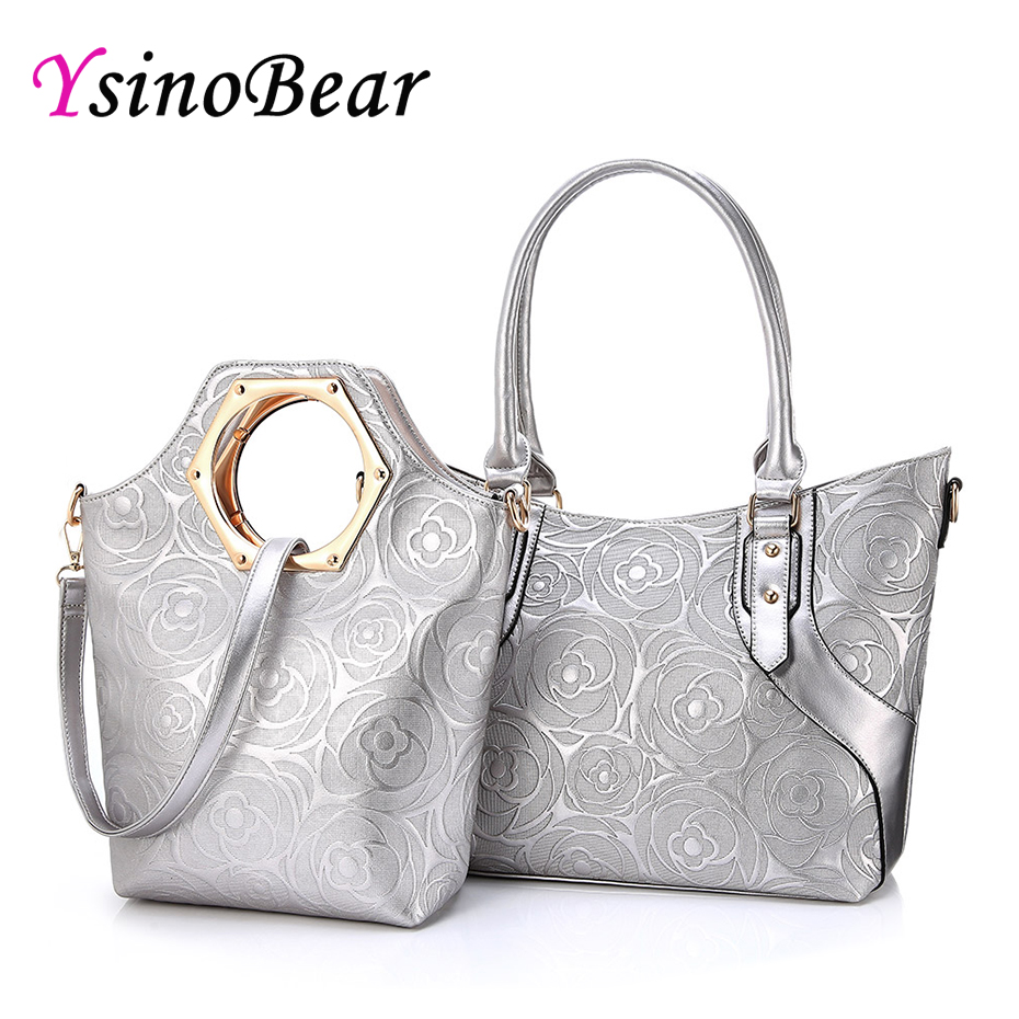 YsinoBear известный бренд модные дизайнерские сумки 2 комплекта Для женщин Композитный сумка серебряная Роза тиснением сумка Верхняя ручка сум...