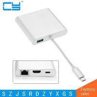 USB 3.1 Type-C USB-C naar HDMI Digitale AV & USB OTG & Gigabit Ethnernet & Vrouwelijke Charger Adapter voor Laptop