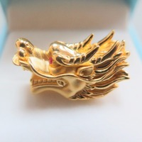 New Real 999 24k Yellow Gold 3D Unisex Luck Dragon Bead Pendant 2.5 3g 25x12mm