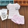 2016 Лето девочка набор топы + джинсовые шорты Дети Девочки костюм без рукавов 2 Шт. Топ + Брюки наборы малыш Костюмы Костюм Одежда 0-2Y
