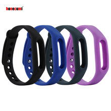 Honecumi For Xiao Mi Band 1 Replacement Band 4 Pack Soft Silicone Bracelet Wristband Smart Watch Accessories For Miband 1(China)