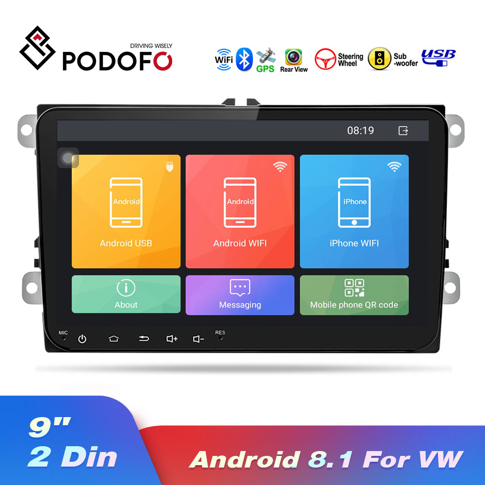 Podofo 9 inch Car radios GPS Navigation Android 8.1 Mp5 Multimedia Player For <font><b>VW</b></font> Volkswagen SKODA <font><b>GOLF</b></font> POLO PASSAT JETTA TIGUAN image