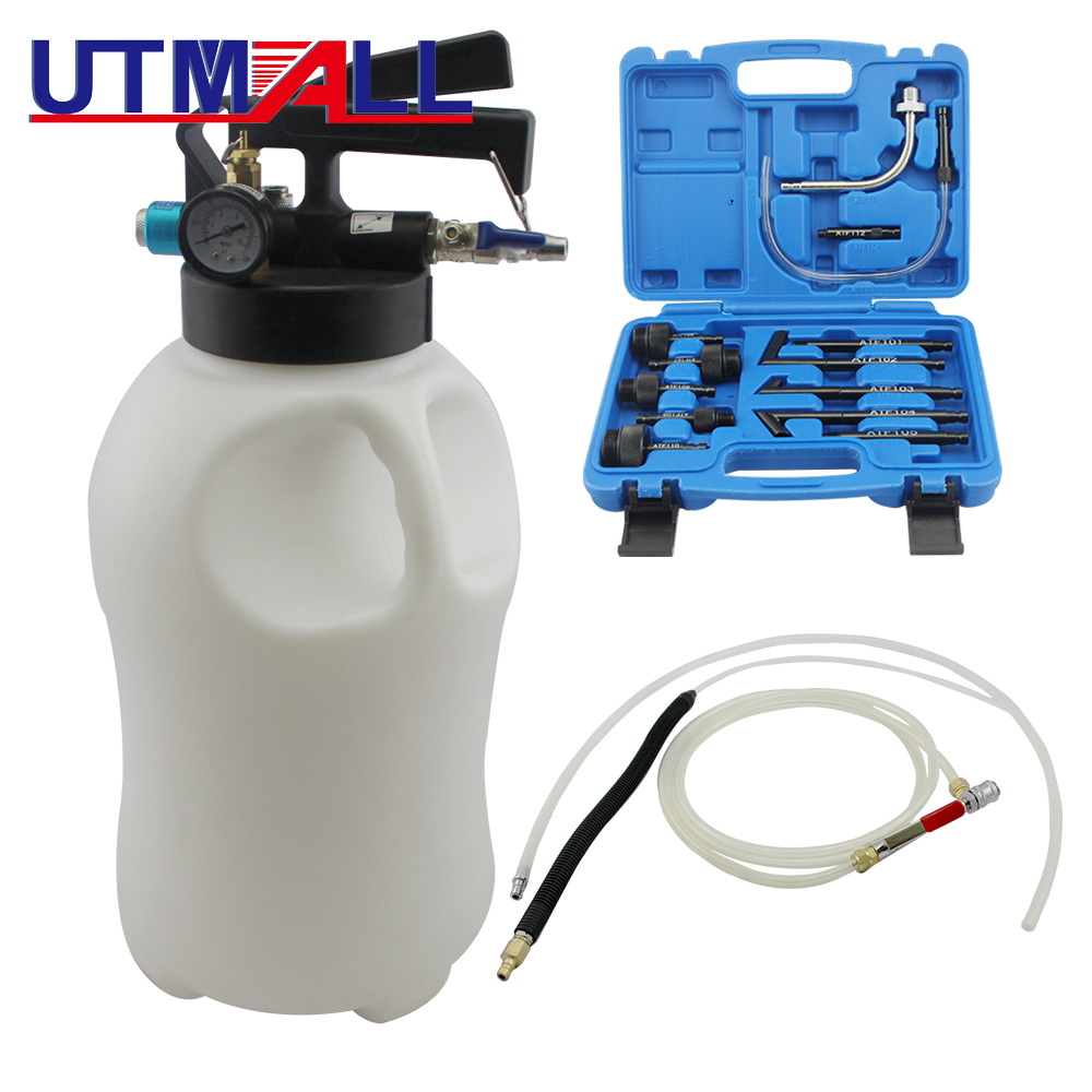 Two Way 10L Penumatic Air Engine Transmission Gear Oil Extractor Dispenser With 13pcs ATF Adapters Transmission