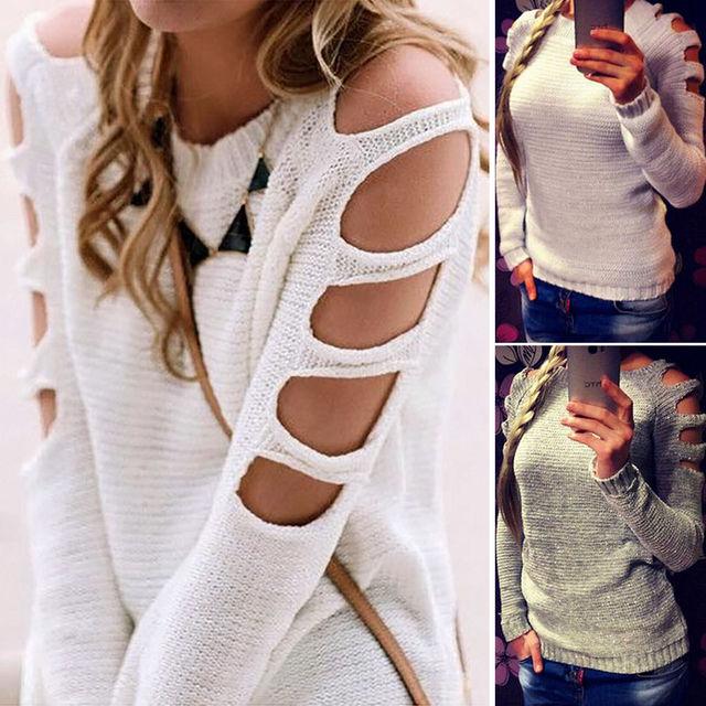 Suéteres y pulóveres de mujer con hombros descubiertos suéter tejido fino cuello redondo jerseys sólidos