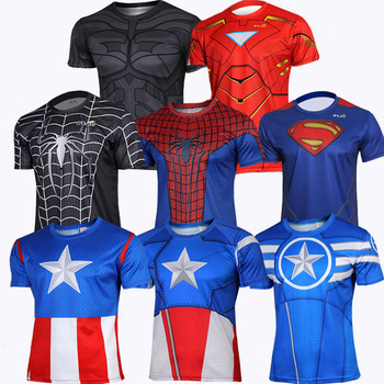 f16d8808dbe The Avengers Spider-man Cycling Costume Captain American Cycling T-shirt  Superman Running sport T-shirt batman cycling jersey