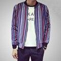 Корейский цвет полосатый хлопок бейсбол стиль весна пальто куртки мужчины вертикальная полоса куртка