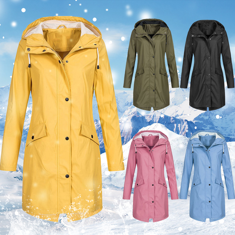2019 Jacket Women Outdoor Autumn Winter Slim Long Coat Mountaineering Suit Plus Size  Waterproof Solid New Fashion Windbreaker