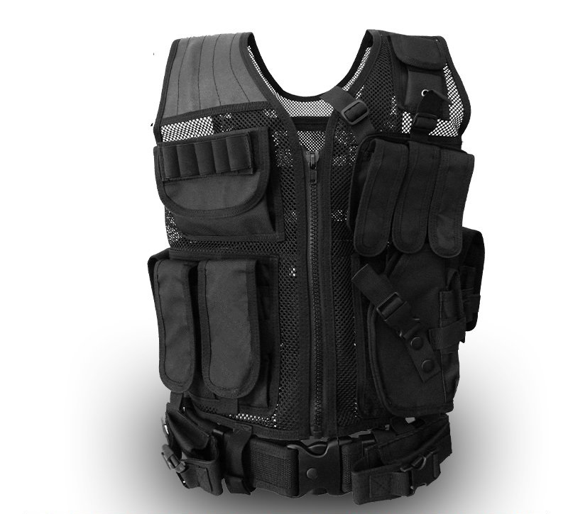 Multifunctional black vest summer breathable mesh vest CS field protective equipment( protective black vest 7 62 black wallet one pair