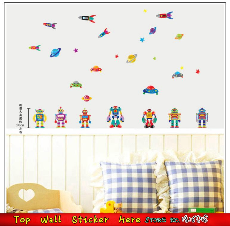 robot fuse ufo stickers muraux pour bb enfants chambre dcoration papier peint pte de dcalque de - Affiche Garcon Robot