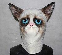 Eco Látex Tamanho Adulto Máscara Realista Grumpy Cat Máscara para Festa de Halloween Trajes De Luxo Borracha