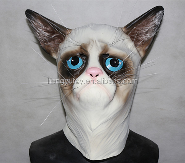 Eco-friendly Latex Adult Size Realistic Mask Deluxe Costumes Rubber Grumpy  Cat Mask for Halloween Party 373dc0b299c5