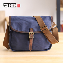 AETOO Canvas Bag Singles shoulder Leisure bag Japanese youth oblique cross fashion trend mens