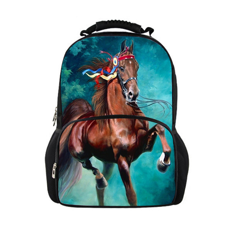 Noisydesigns 3D Children School Bag Animal Horse Dinosaur Print Mens Travel Backbag Crazy Horse School Bags for Teenager Boys