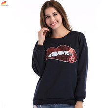 European Harajuku Style Casual Sequined Lips Warm Sweatshirt Women Clothing 2017 Autumn Fashion Gray Hoodies Long Sleeve Tops