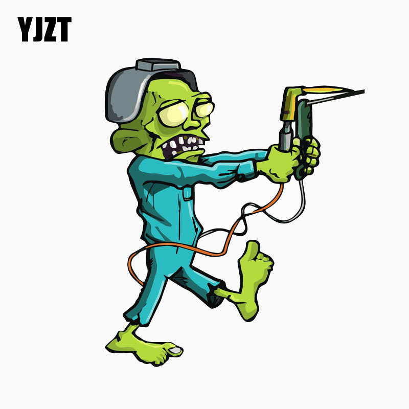 YJZT 10.8CM*12.7CM Amusing Weld Welding Helmet ZOMBIE Car Window Reflective Car Sticker Decal C1-7733 scotch weld dp 490 в волгограде