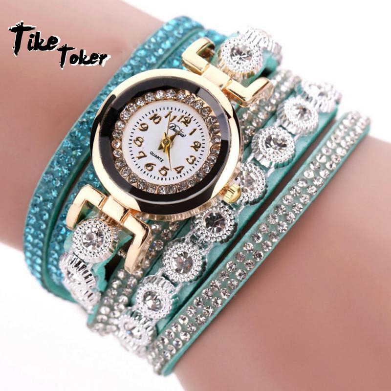 Tike טוקר עסקים יהלום יקר מעגל עור צמיד שעונים ליידי אוהבי קוורץ שעון פנאי שעונים relogio feminino 10