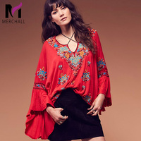 bohemian people hippie chic blouses loose flare sleeve embroidery shirts v neck boho tops blusas women clothing M5008