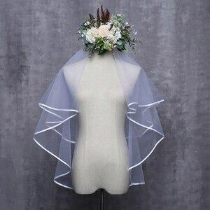 فستان زفاف للنساء الحجاب طبقتين تول الشريط حافة حجاب الزفاف اكسسوارات