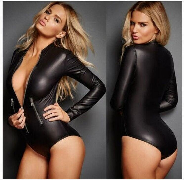 Sexy Deep V-neck Bodycon Jumpsuits Womens 2016 Newest Black Wet Look Faux Leather Short Bodysuit Slim Sexy Night Club Rompers