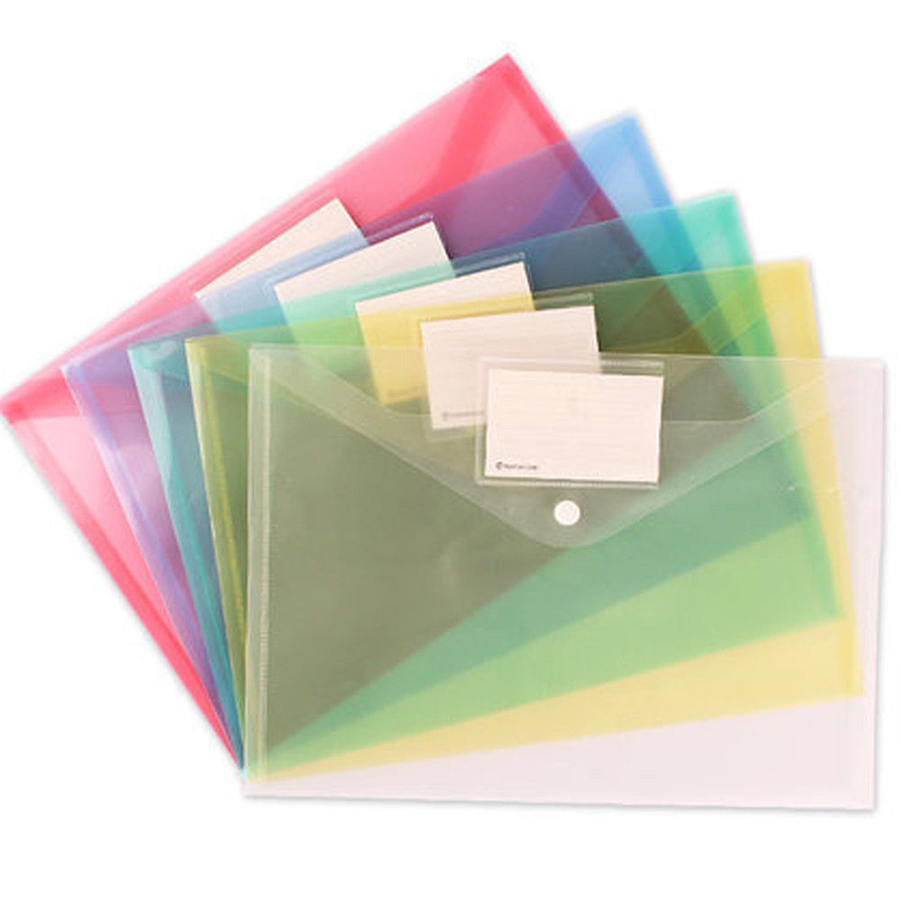 A4 Clear Document Bag Paper File Folder Stationery School Office Case PP Material 6 Colors School Office Supplies