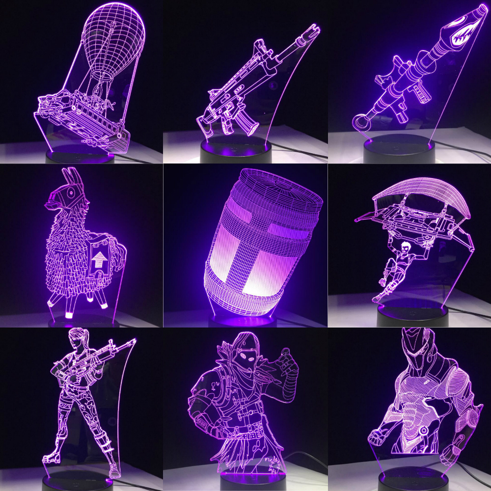 Game 3D LED Lamp 7 Colors Touch Switch Table Desk Light Lava Lamp Acrylic Illusion Room Atmosphere Lighting Fans Gift All Skins