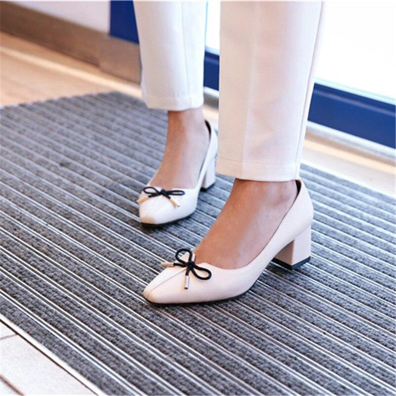 Talons Élégant Parti En 2019 Bowtie Véritable Mariage Base Pompes Femmes De noir 1 Hauts Slip Femme Sur Nouveau Chaussures Cuir Conasco ZIx5Cwqf