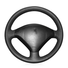 Hand-stitched Black Artificial Leather Anti-slip Soft Car Steering Wheel Cover for Peugeot 307 2001-2008 307 SW 2005-2008