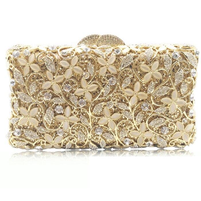 XIYUAN BRAND Mini clutch bags box luxury crystal evening bags party clutch purse gold women wedding bag soiree pochette silver box clutch purse