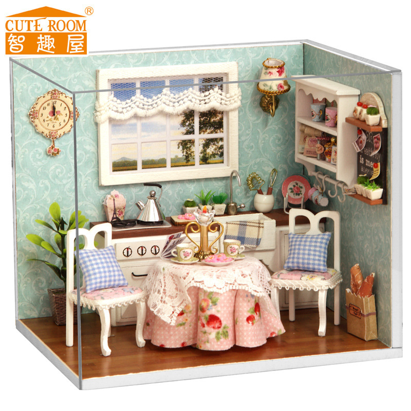 Free Shipping DIY Doll House Miniature Wooden Dollhouse ...