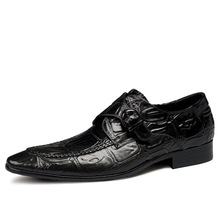 QYFCIOUFU Genuine Cow Leather Brogue Wedding Shoes Mens Crocodile Pattern Casual Flats Shoes Handmade Monk Strap Oxford Shoes