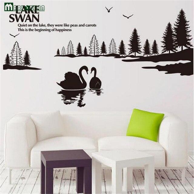 maruoxuan danau swan dekorasi dinding kamar anak anak stiker