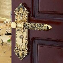 Европейская мода золотой полый межкомнатные деревянные двери замки ванная комната исследование спальня дверная ручка блокировки античный механические дверные замки